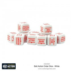 Bolt Action Orders Dice – White (12)